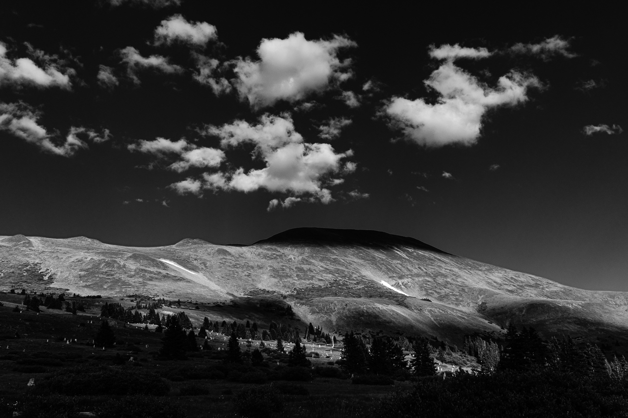 Day 233 - 365 Day B&W Photo Challenge - The contrast on Boreas Mountain of the afternoon light hitting the peak and the cloud covered shadows. - Fuji X-T3, XF 23mm f/2, Acros R Film Simulation