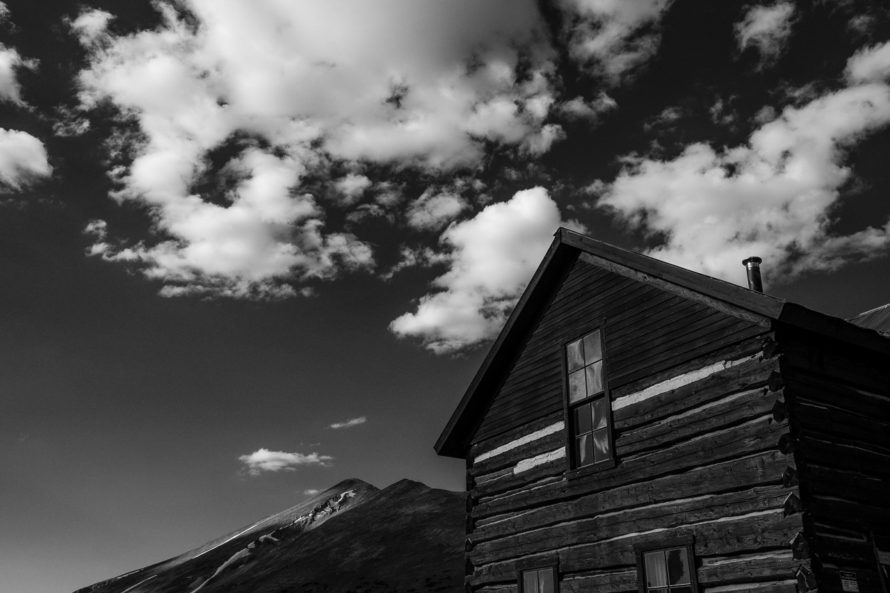 Day 232 - 365 Day B&W Photo Challenge - Views of Bald Mountain from the historical cabins at Boreas Pass. - Fuji X-T3, XF 23mm f/2, Acros R Film Simulation