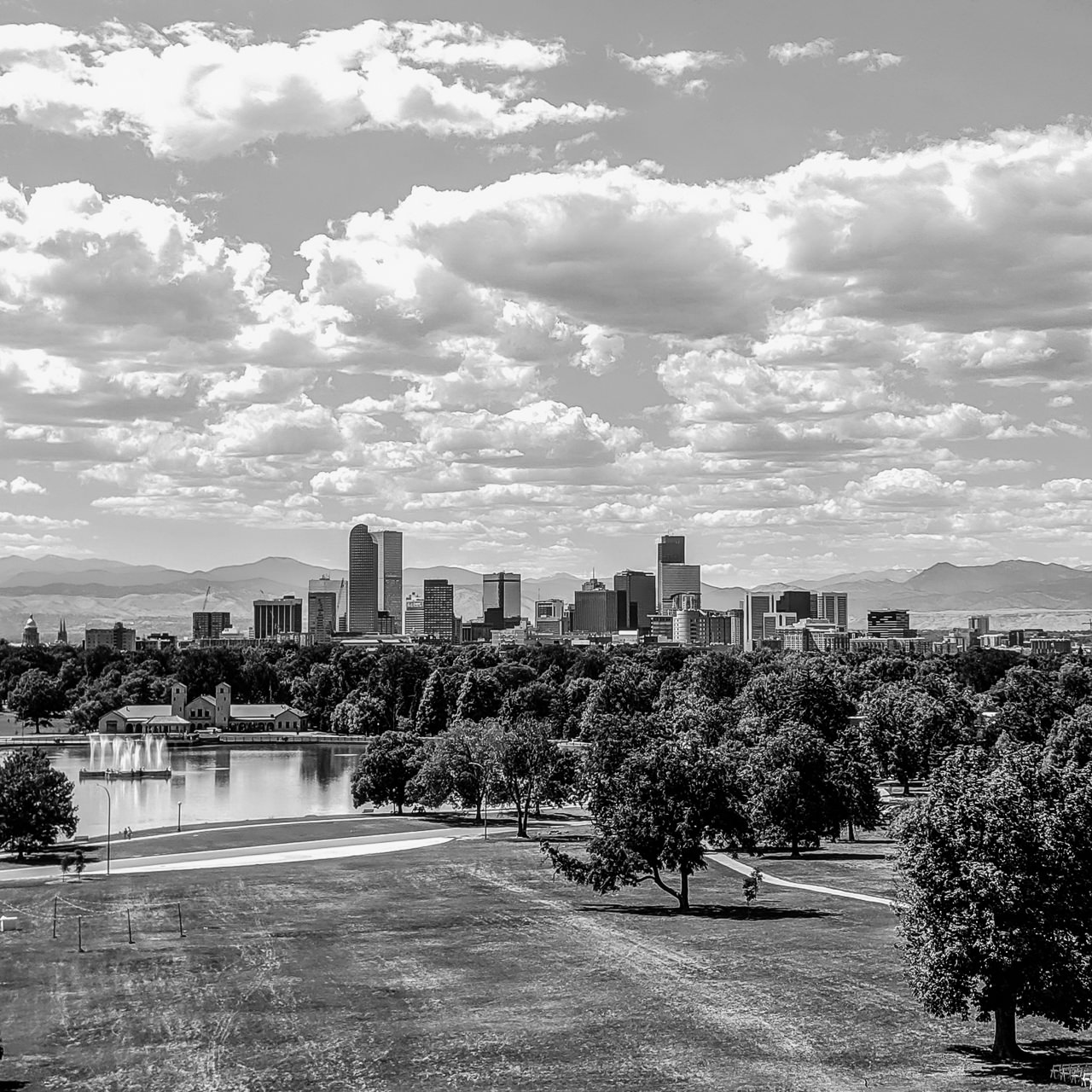 Day 240 - 365 Day B&W Photo Challenge - The Denver skyline viewed from City Park on a Summer Day. - Google Pixel 3