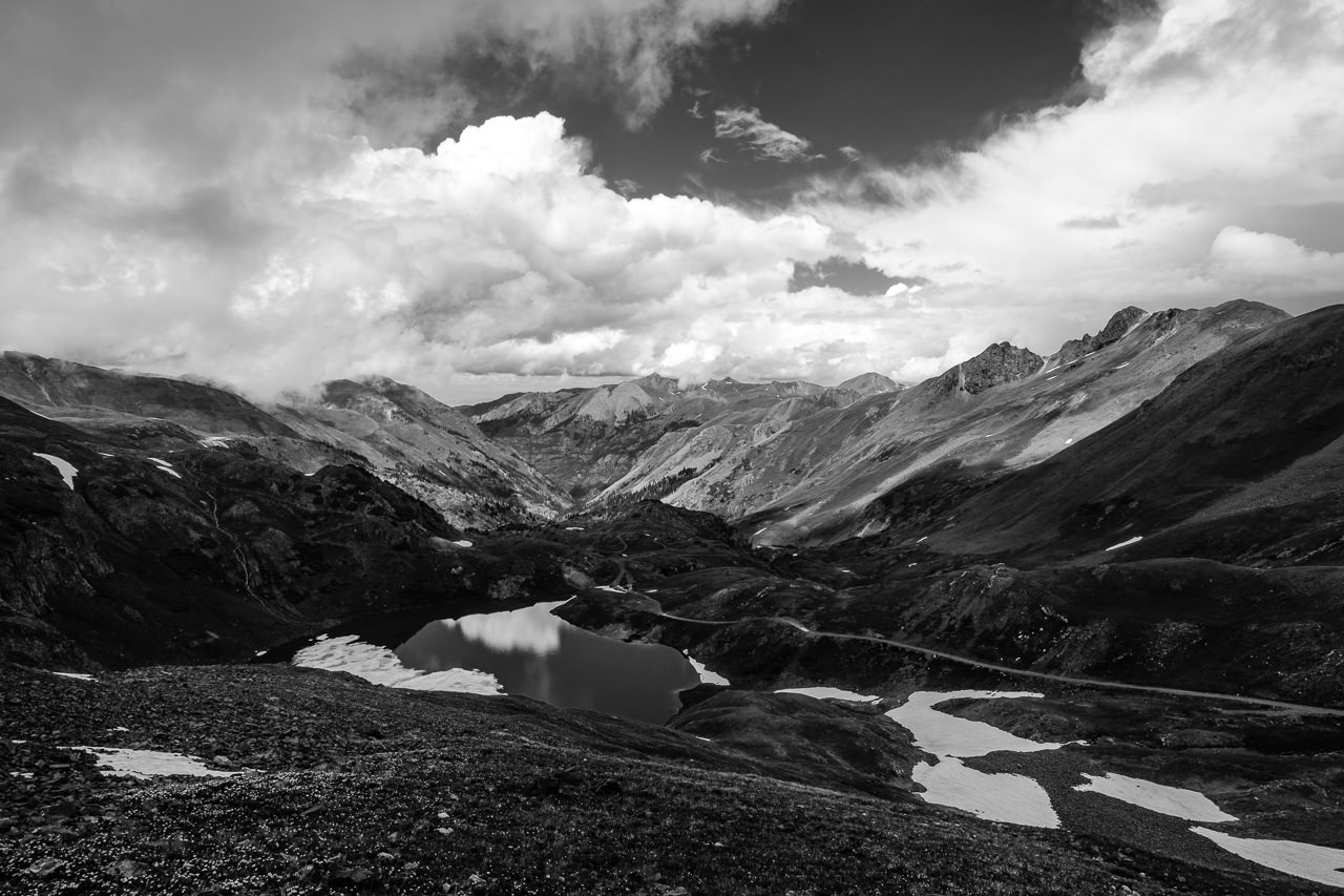 Day 243 - 365 Day B&W Photo Challenge - View from the top of Hurricane Pass overlooking Lake Como, the headwaters to the Uncompahgre River.  - Fuji X-T3, XF 14mm f/2.8, Acros R Film Simulation