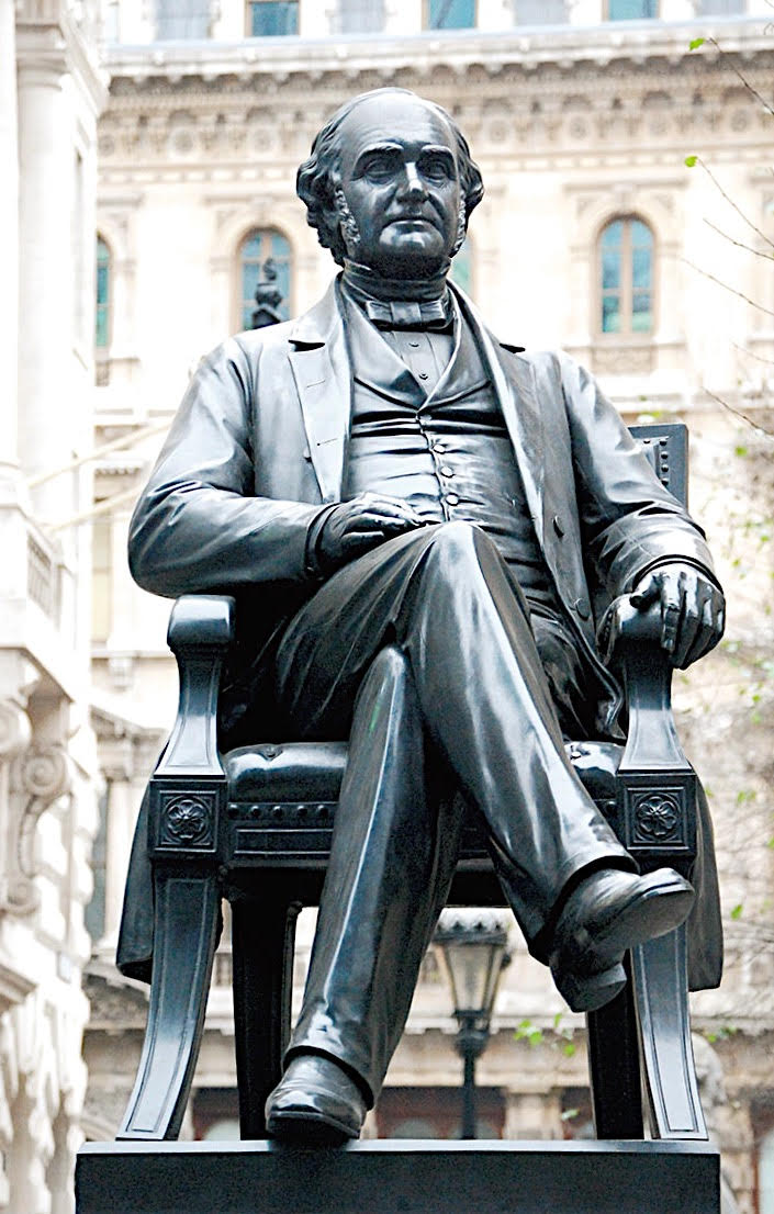 George Peabody MDCCCLXIX. Born in Danvers, Mass, U.S.A. 18th February 1795. Died London England 4th November 1869. American philanthropist and great benefactor of the London poor. Accorded the honorary freedom of the City of London 10th July 1862. This statue by W. W. Story was unveiled on the 23rd July 1869.