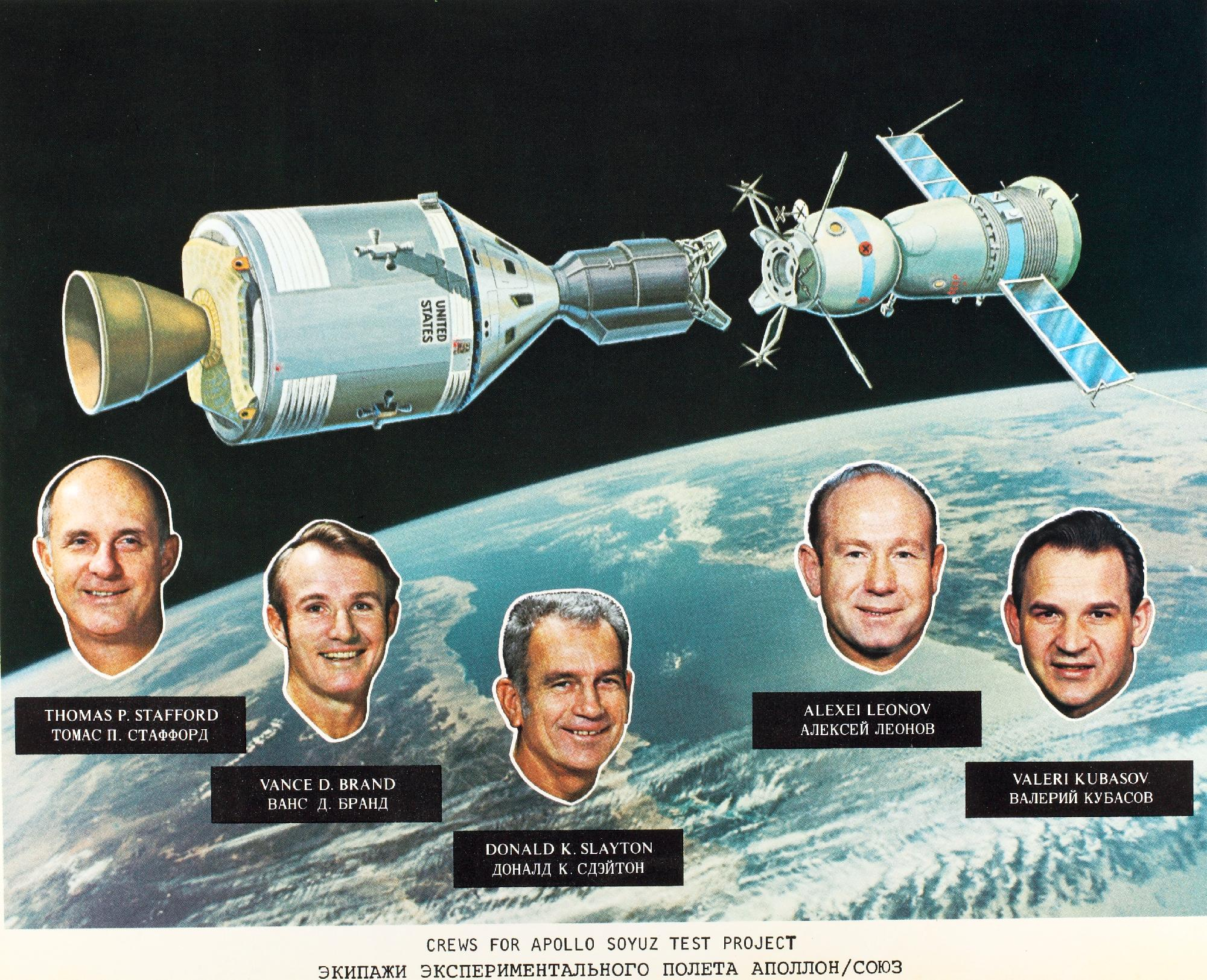 - In 1975, the first-ever meeting between astronauts and cosmonauts took place during the Apollo-Soyuz Test Project. Soviets and Americans shook hands through an open hatch and remained docked together for 44 hours. The meeting cooled Cold War tensions and ushered in a new era of technical and scientific collaboration.That was the last successful meeting in history.