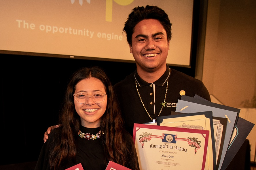 """I could have given up on high school. But my EXP mentors inspired me to make something of myself. EXP has given me opportunities I never could have reached on my own. Now I know a bigger future is possible for me."" - Ian with colleague Jazmin"