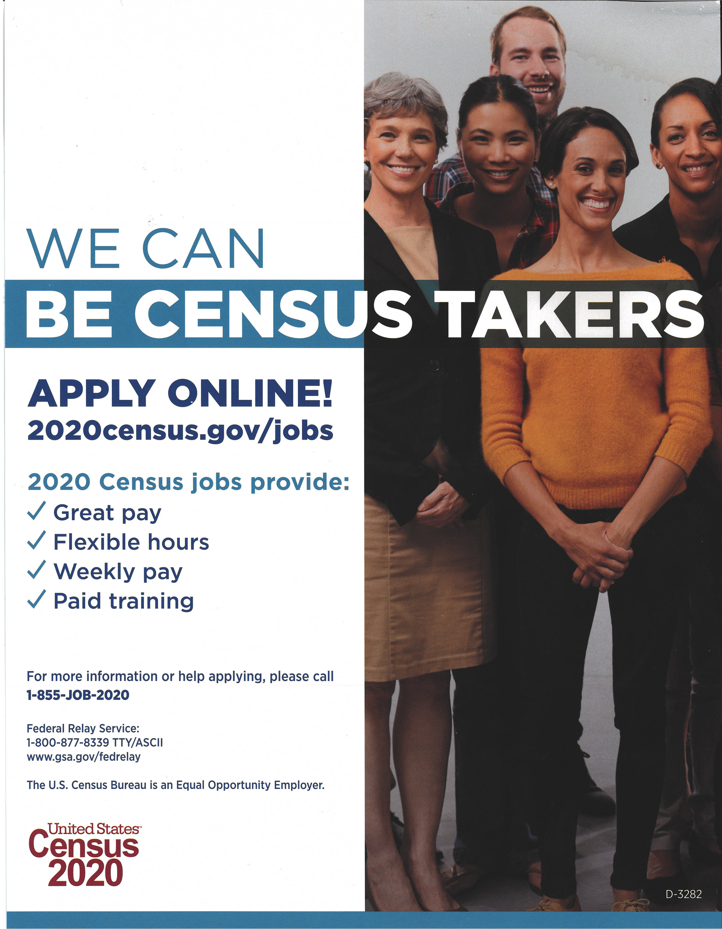 Be a Census Taker!! - No Resume, No Interview, apply Online at 2020census.gov/jobs