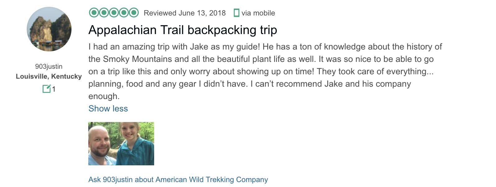 TripAdvisor Review- American Wild Trekking- Appalachian Trail Backpacking Trip