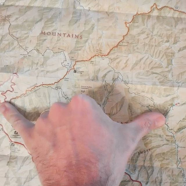 That there's about 7 miles... Pinky to thumb. Great way to measure trail distance for trip planning... #appalachians #smokymountains #maps #wilderness #tripplanning #hikingtrip #adventure #lovelifeoutside #americanwildtrekking #theroadgoeseveronandon #professionalorganizer #intothewild #wherewillwegonext #mountains #walkinthewoods #backpacking #backpackingadventures #logistics #homeoffice #smokymountains