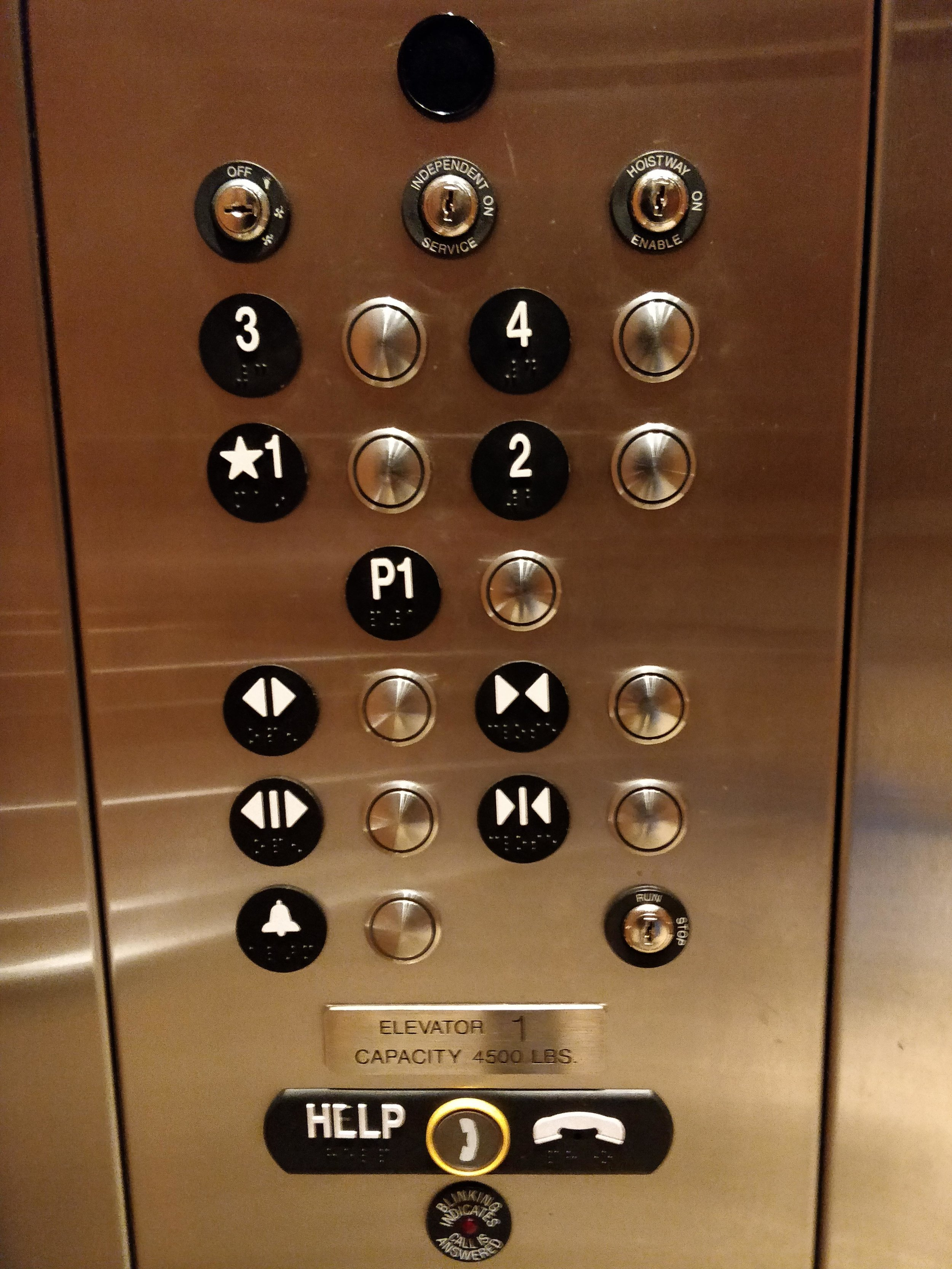 Image 6. Buttons in elevator 3