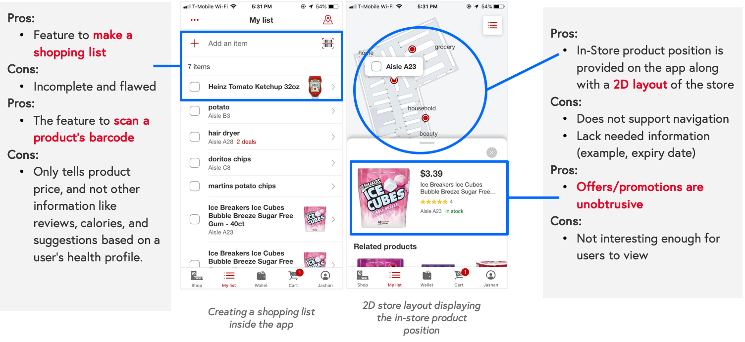 Image 2. Screenshots of the Target App and the pros and cons of some of the features in the app.