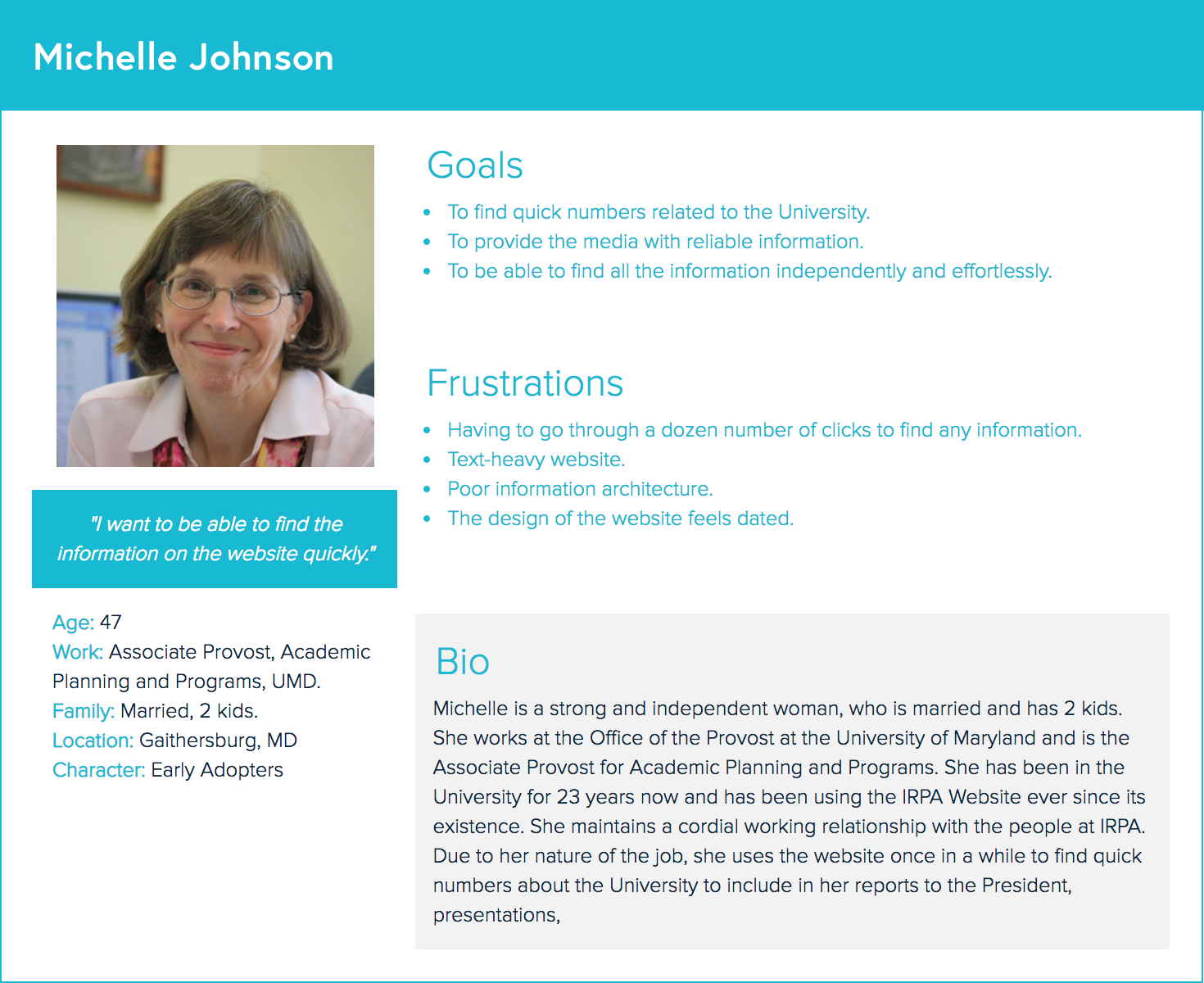 """I want to be able to find the information on the website quickly."" - -Michelle Johnson"