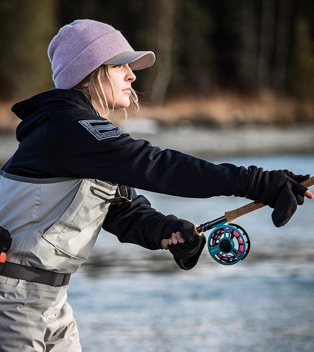 I've used my spey like 4 times and even caught a fish with it, so I guess you could say I'm a real fly-fisherwoman now. Is there a club for it? What time do we meet? #rookie 📷: @koryrobbins . . @cabelas @bassproshops #teamoutdoors