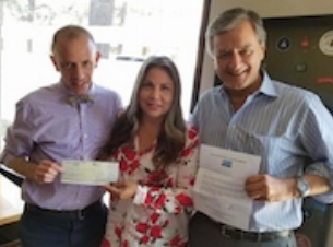 Ron Birnbaum, MD and Al Saavedra present Single Payer PAC contribution to  Maria Estrada , candidate for Assembly in District 63.