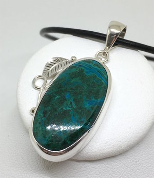 Beautiful blue-green chrysocolla pendant