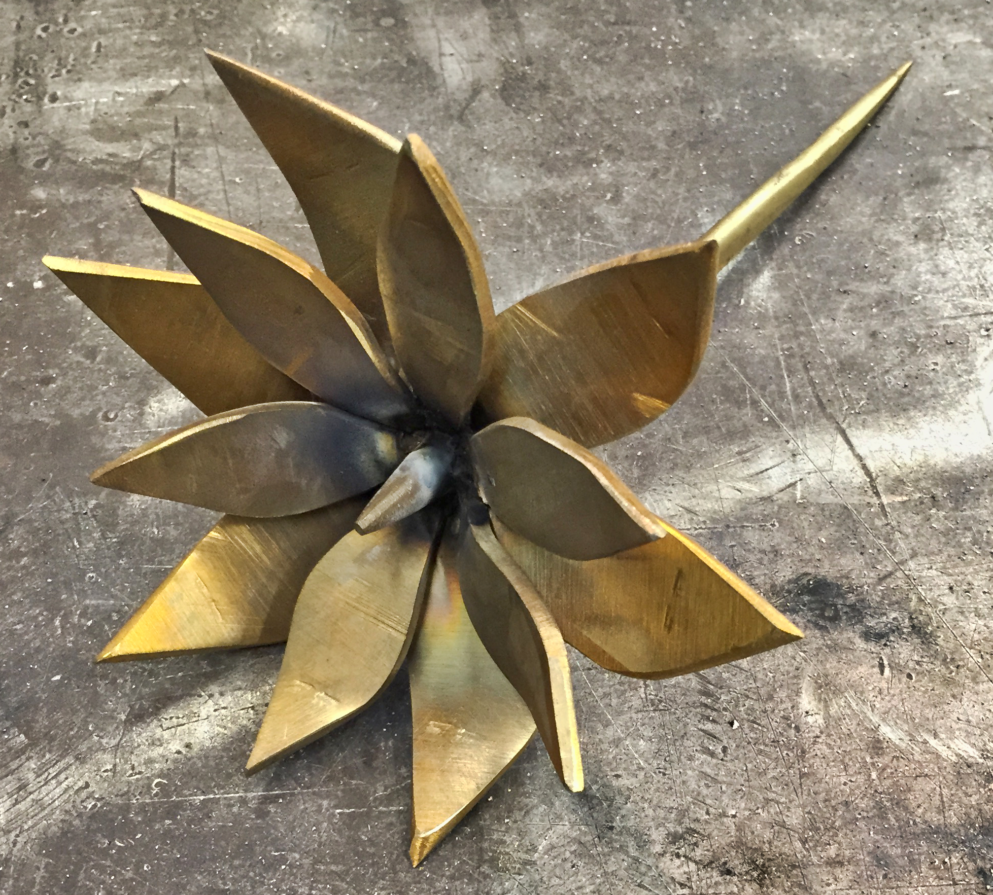 Brass MAgnolia sculpture