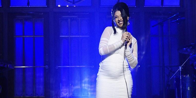 Cardi B reveals pregnancy at SNL performance