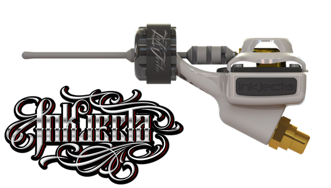 Inkjecta - Inkjecta Tattoo machines are changing the tattoo industry one machine at a time. With new, reinvented features like a billet alloy-constructed frame with LED light activation and removable, interchangeable side bumpers and cam covers, tattoo artists are now able to perform with more control than ever before. To purchase yours, visit their website below.