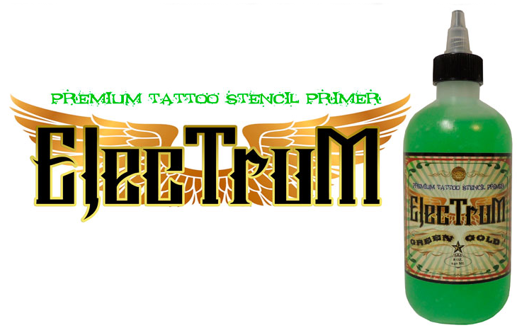 Electrum Premium Tattoo Stencil - ELECTRUM Premium Tattoo Stencil Primer is the industry's leading stencil application product. A claim that's backed by consistent positive customer feedback and growing brand loyalty. ELECTRUM was developed by tattoo artists for tattoo artists, and is manufactured by tattoo artists, not laboratories. To purchase yours, visit their website below!