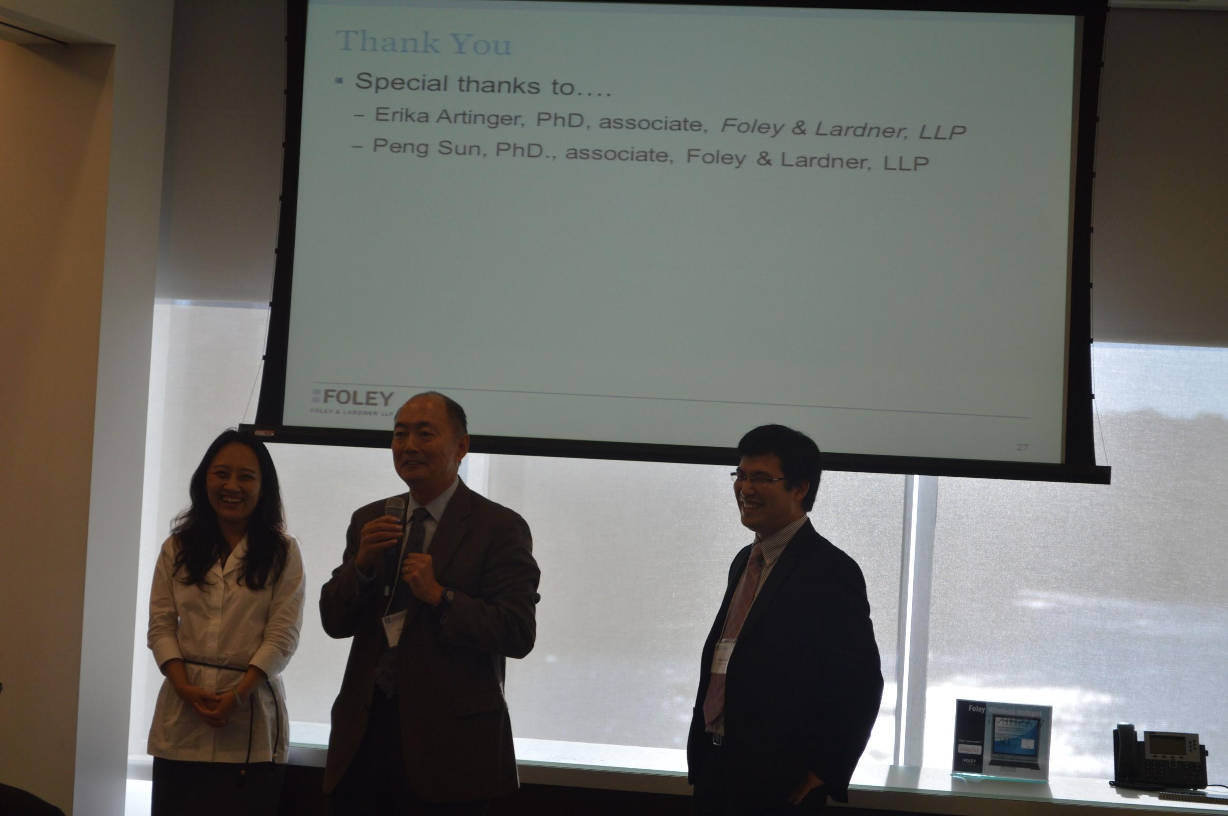 SAPA-DC首任会长Amanda Fu,现任会长Fred Yang和候任会长Vince Deng (摄影:Tiange Cui)