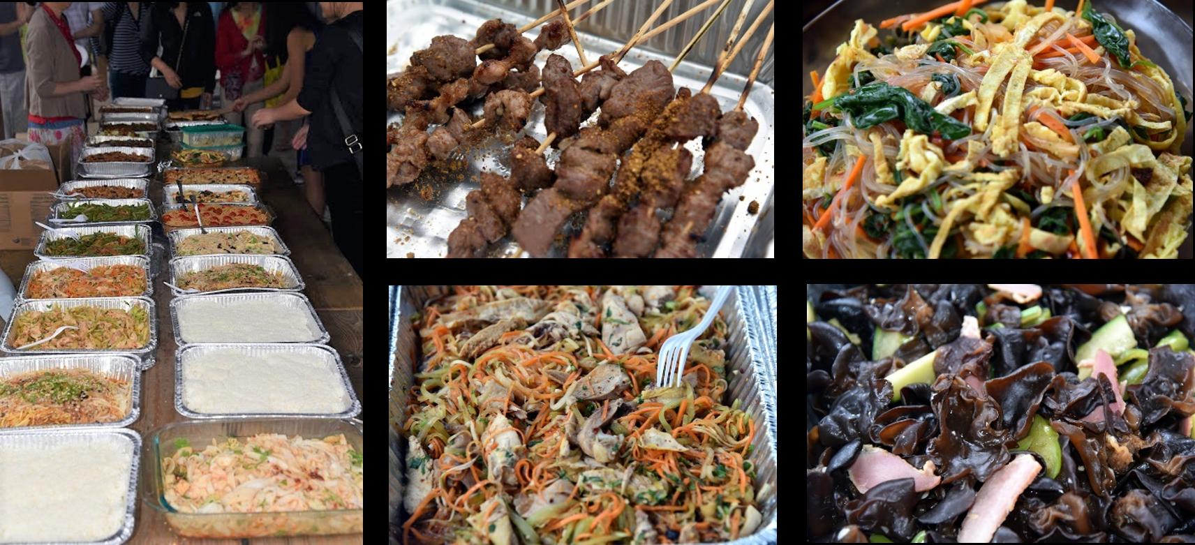 各色菜肴和烤肉串