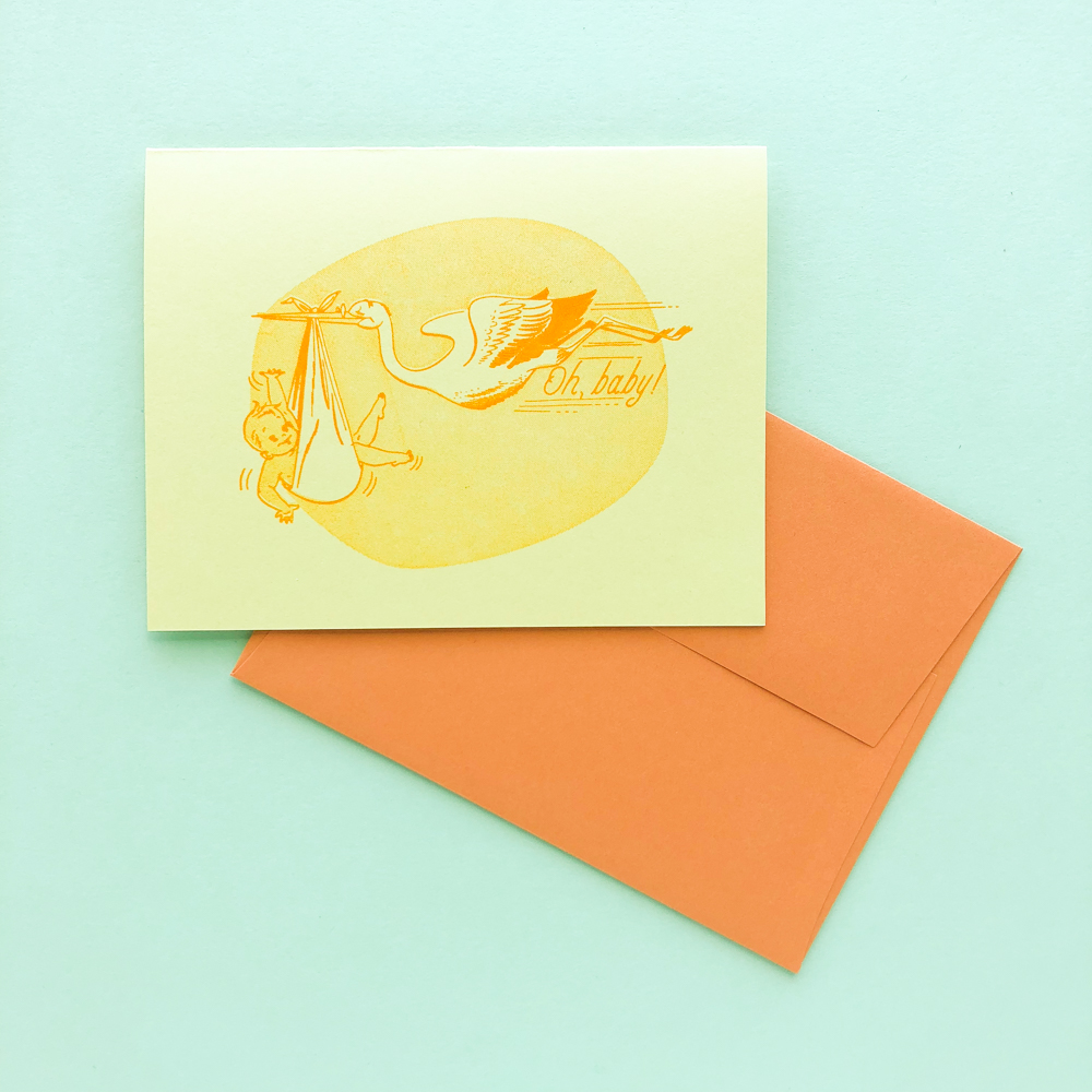 Is there a nine month countdown in your future?  Triple Threat Press  has your father-to-be in mind with their gender-neutral stork stationery.