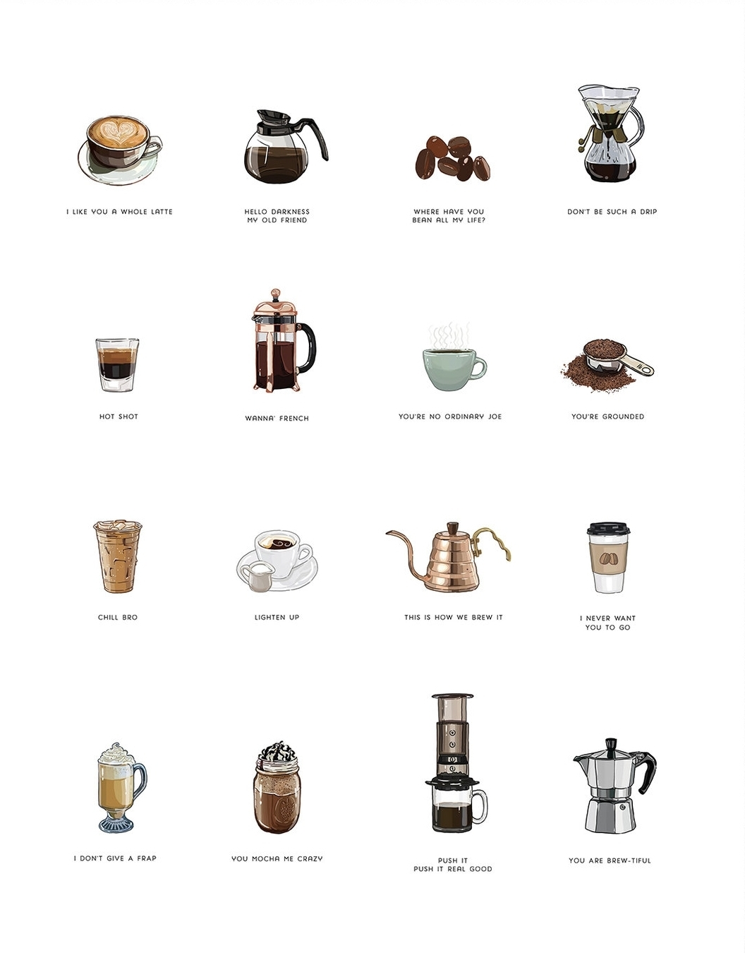 Coffee punnies print by Boundary & Thorn