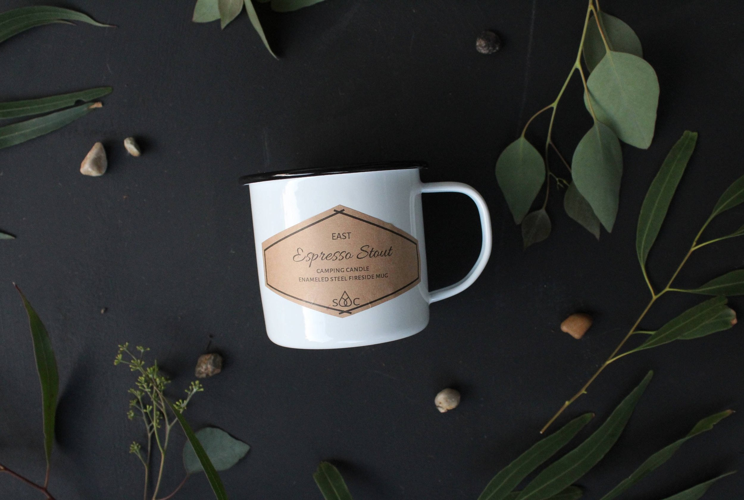 Espresso Stout enamelware mug soy candle by Sweet Dish & Darling