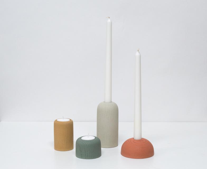 Cast concrete candlestick/votive holders by Domenic Fiorello Studio
