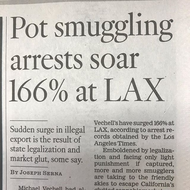 """Pot smuggling arrests soar 166% at LAX: """"The sudden increase in airport smuggling is largely the result of legalization and a saturated market. California grows far more marijuana than its residents consume — up to five times more by some accounts — and cannabis users in other states will pay a much higher price."""" - @latimes . . . Do you live in a state with legal weed? How much do you pay for flower?"""