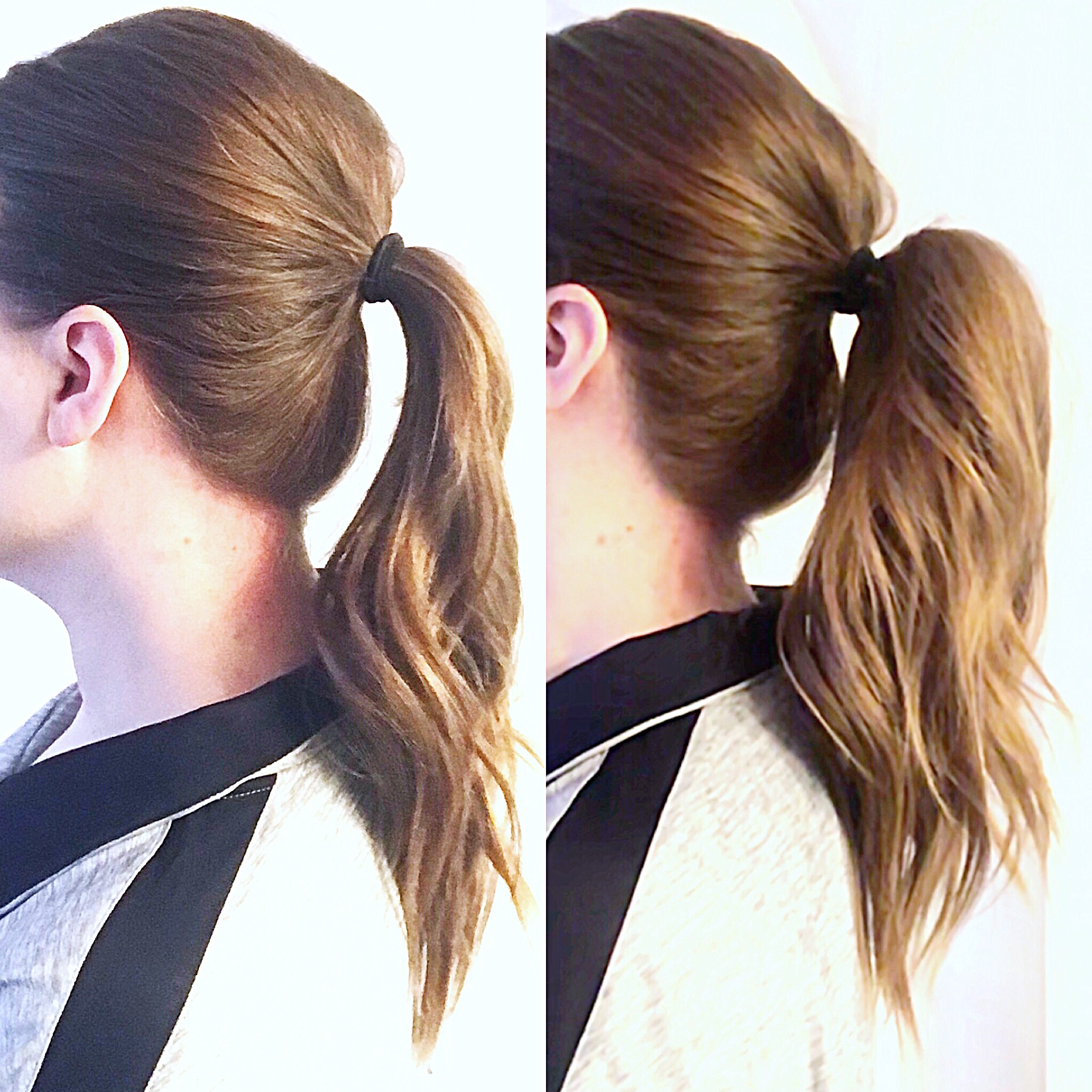 Check out the difference between these two ponytails. The only difference is some teasing and clips, no extensions required!
