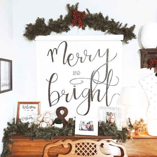 merry and bright quote sign