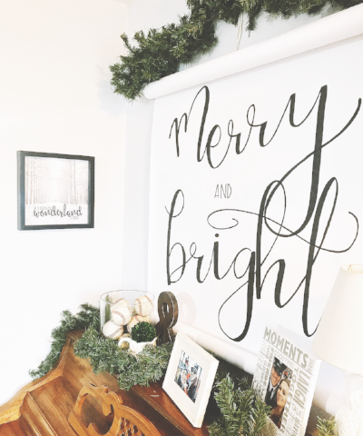merry and bright lettering quote