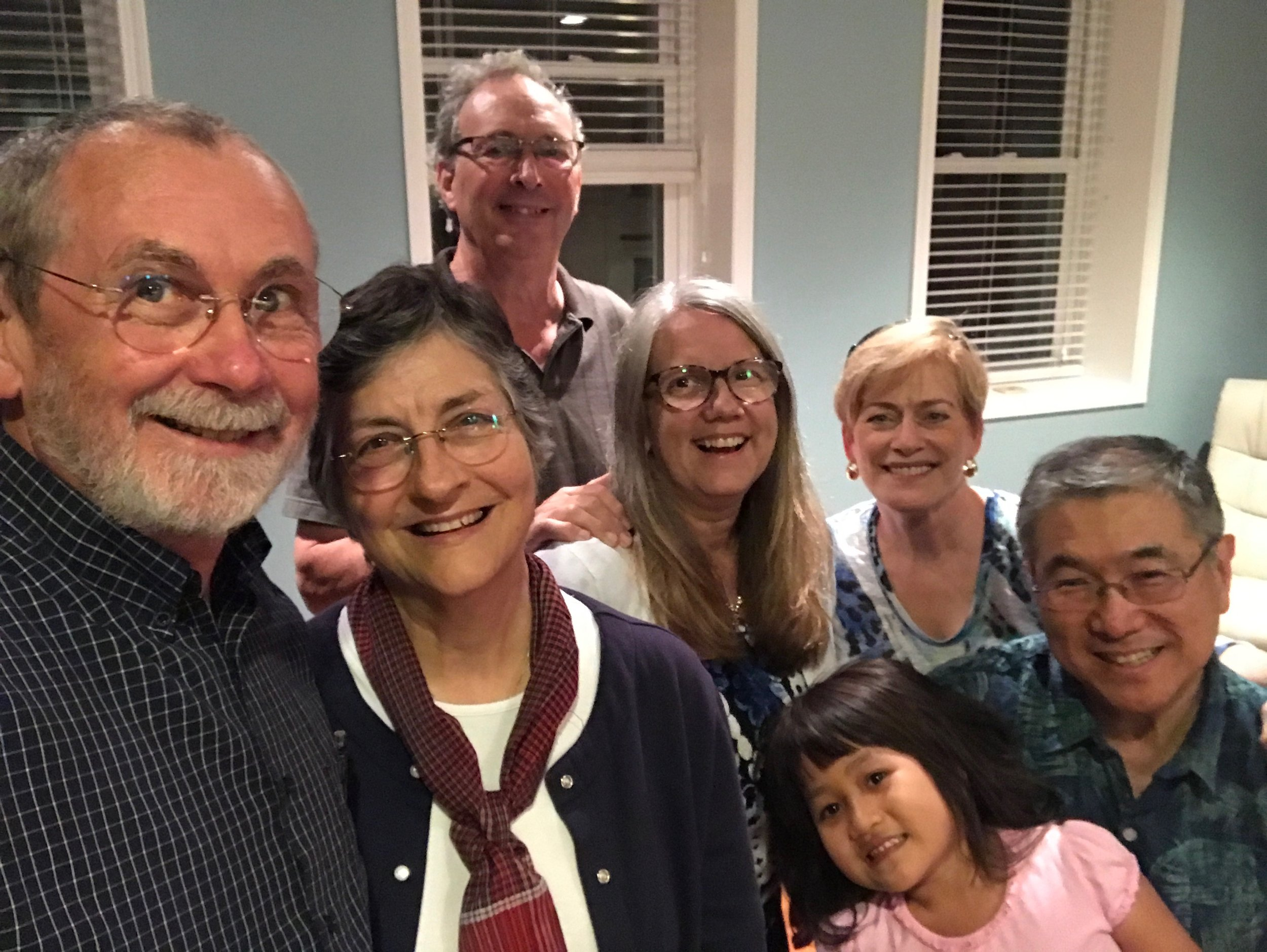 Friends from Encompass World Partners. Missionaries Kent and Becky Good, Kevin, Jill and Grace Kane with BrightStart's Gwen and Vernon Higaki
