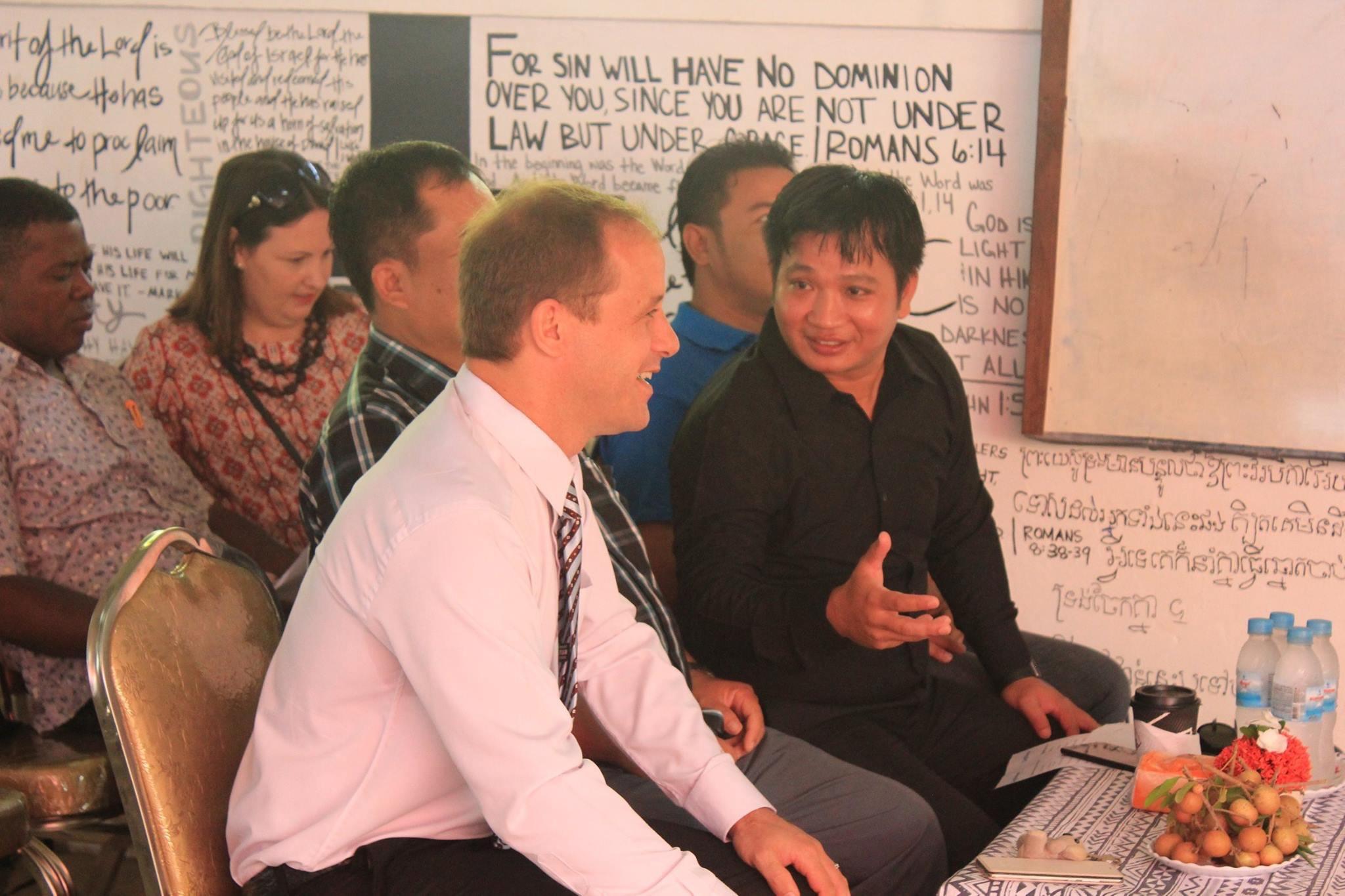 Lukas Bernhardt (LightHouse Battambang) with Reaksmey Khem (Dewey International Schools)