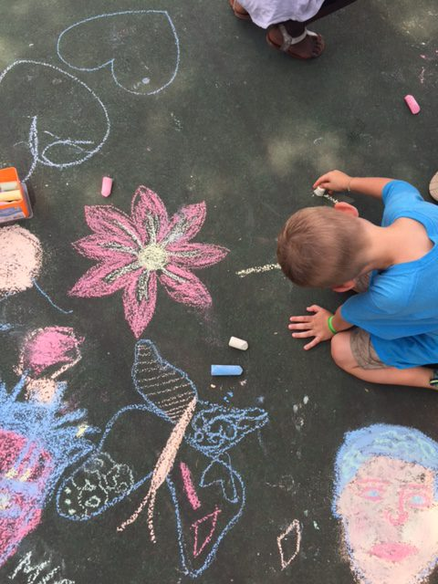 Arts and craft activity - sidewalk chalk drawing at the park with the kids.