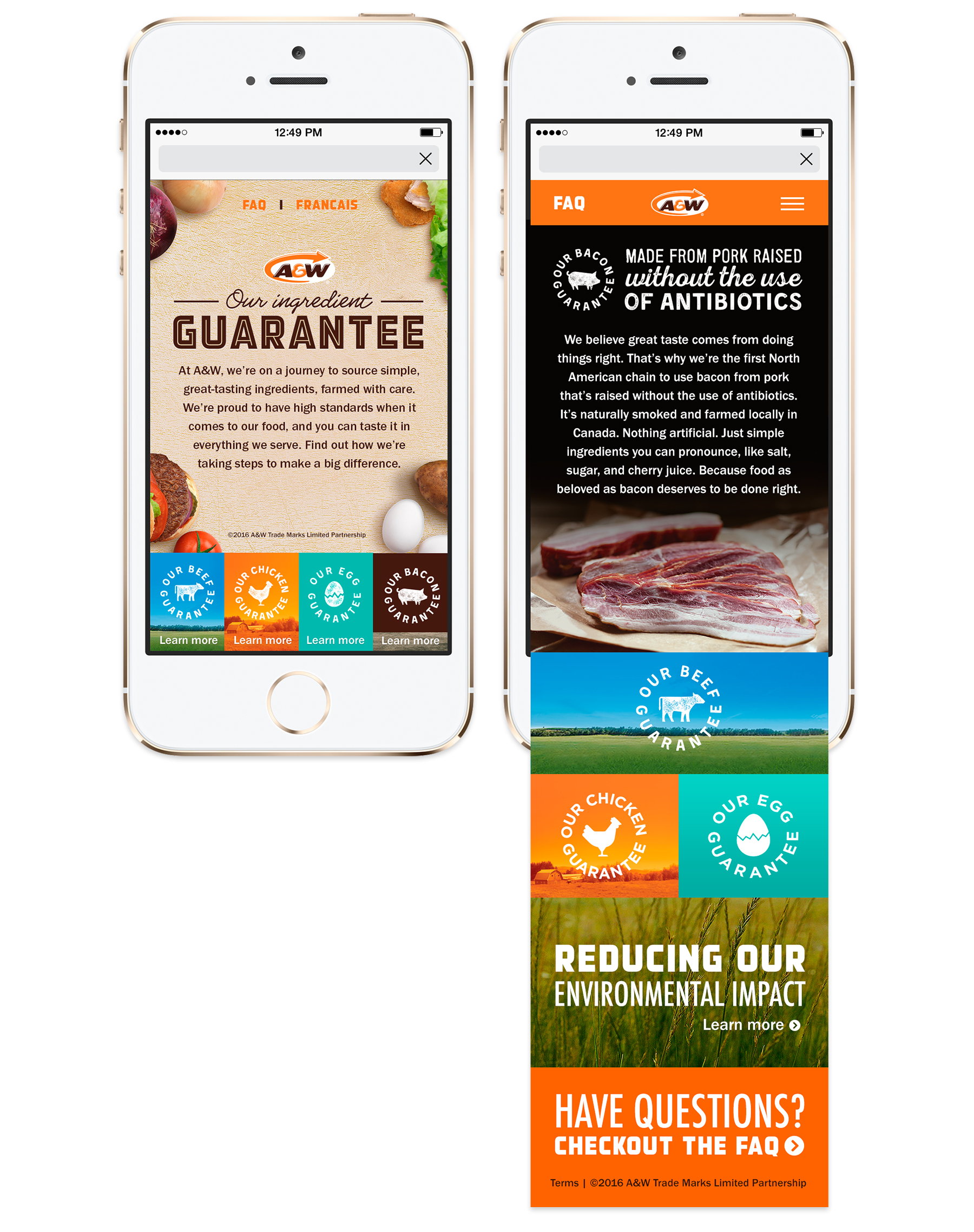 Mobile, A&W's Better Ingredients—Homepage and Landing Page