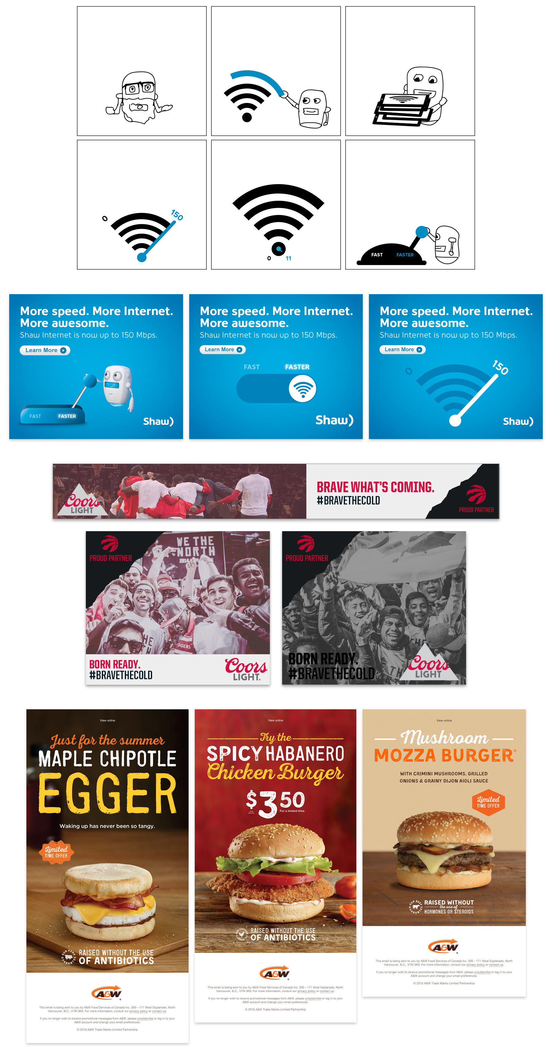 Digital Ads for Shaw, Coors Light, A&W