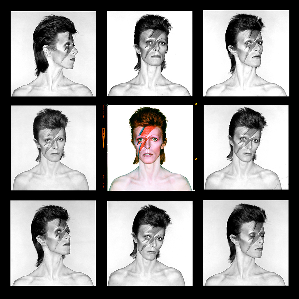 Aladdin Sane contact sheet by Brian Duffy