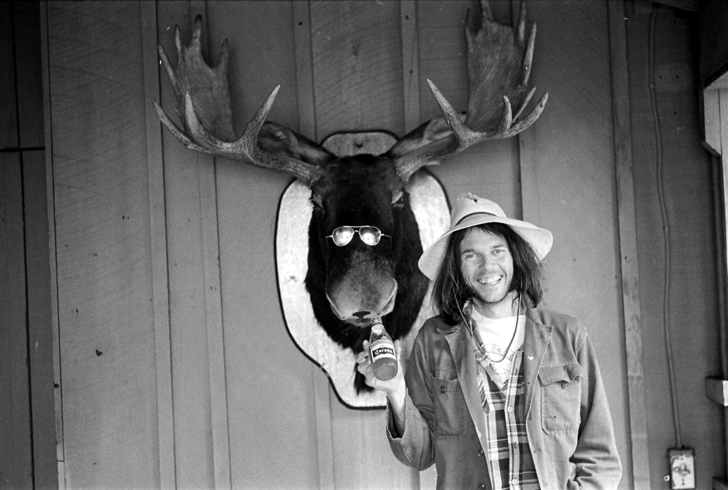 Neil Young and Moose 1975 by Henry Diltz