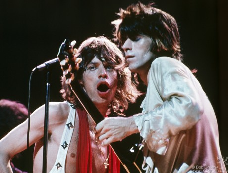 Mick Jagger and Keith Richards of The Rolling Stones close up on stage at MSG, NYC. July 24, 1972 by Bob Gruen