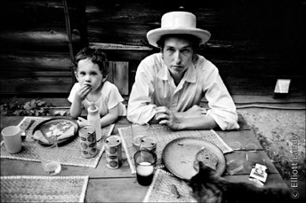 Bob Dylan with son Jesse Dylan, Byrdcliffe home, Woodstock, NY, 1968.