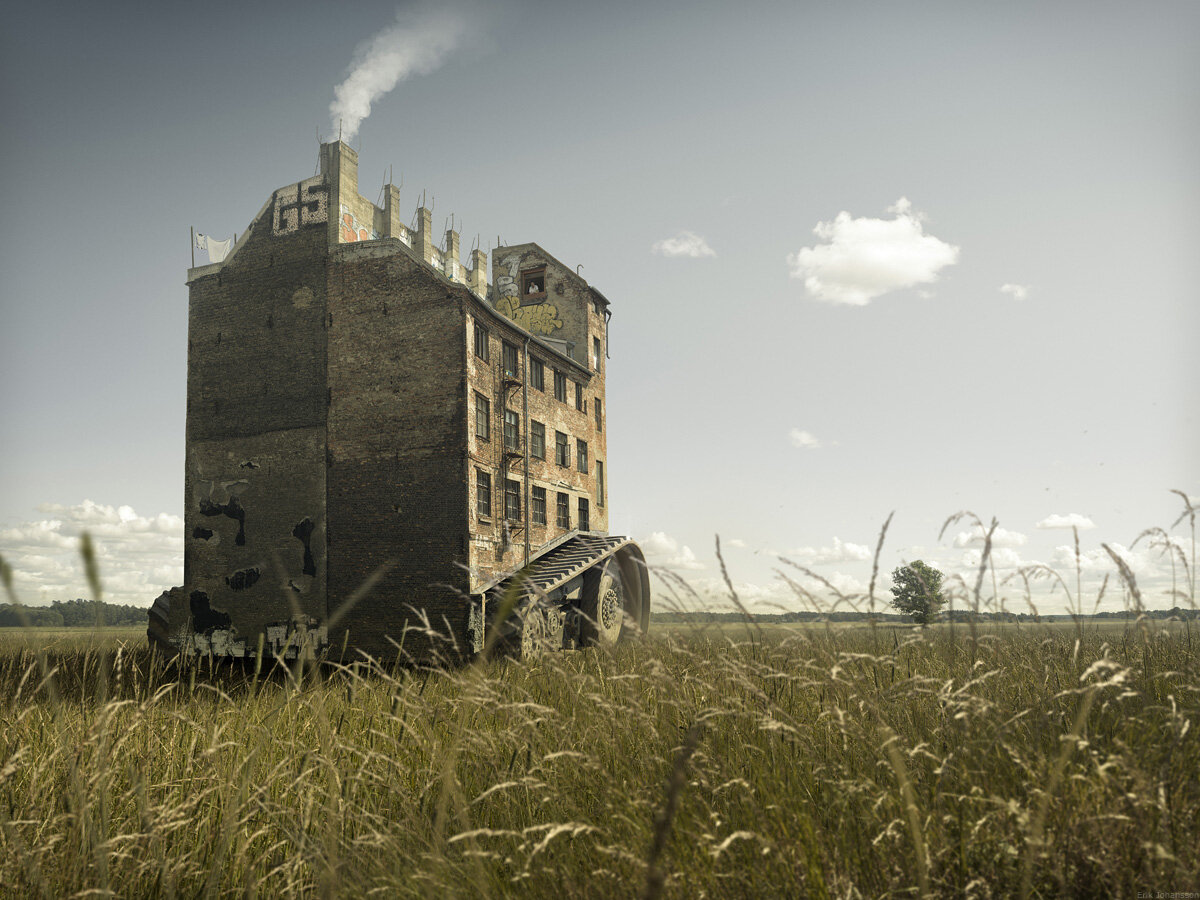 Escaping House by Erik Johansson