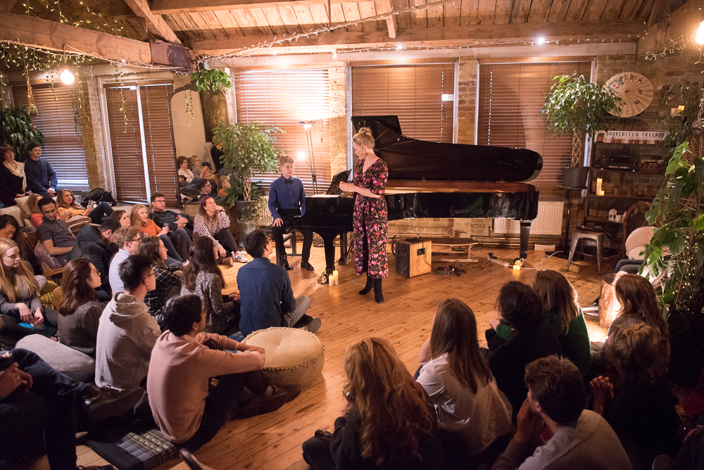 DEBUT at Shoreditch Treehouse | Secret Classical Concert, Lizzie Holmes soprano and Sam Pena piano improvisor