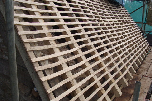 Split oak laths fixed with copper nails