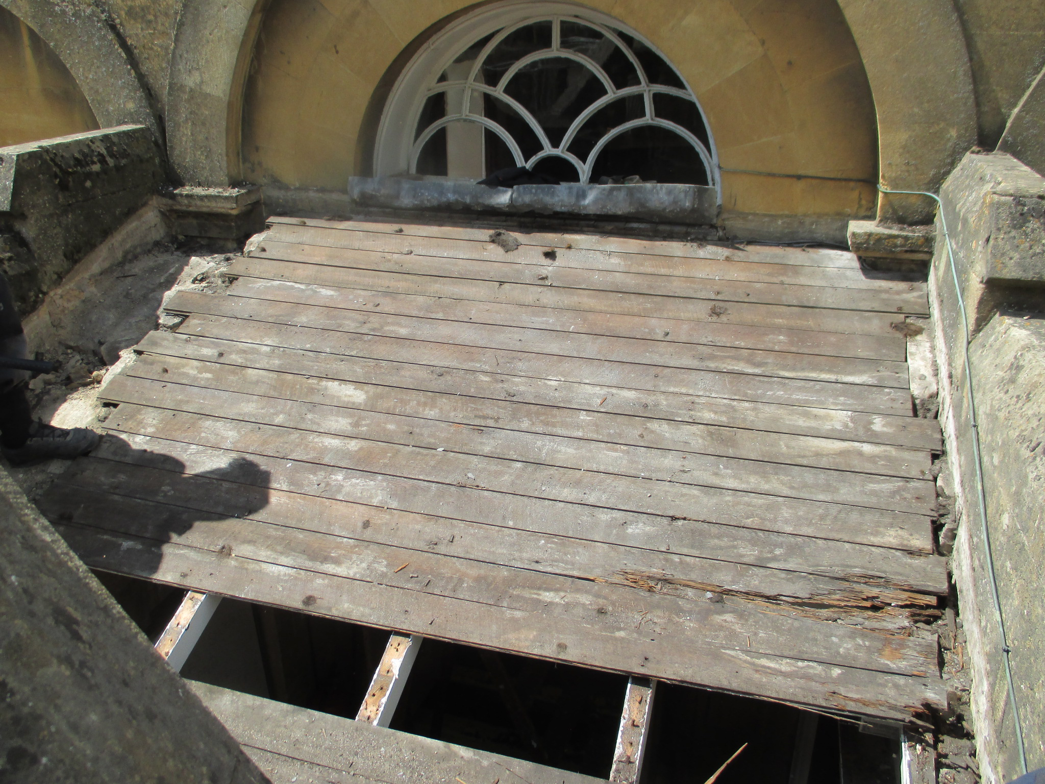 Rotten timbers exposed when roof stripped