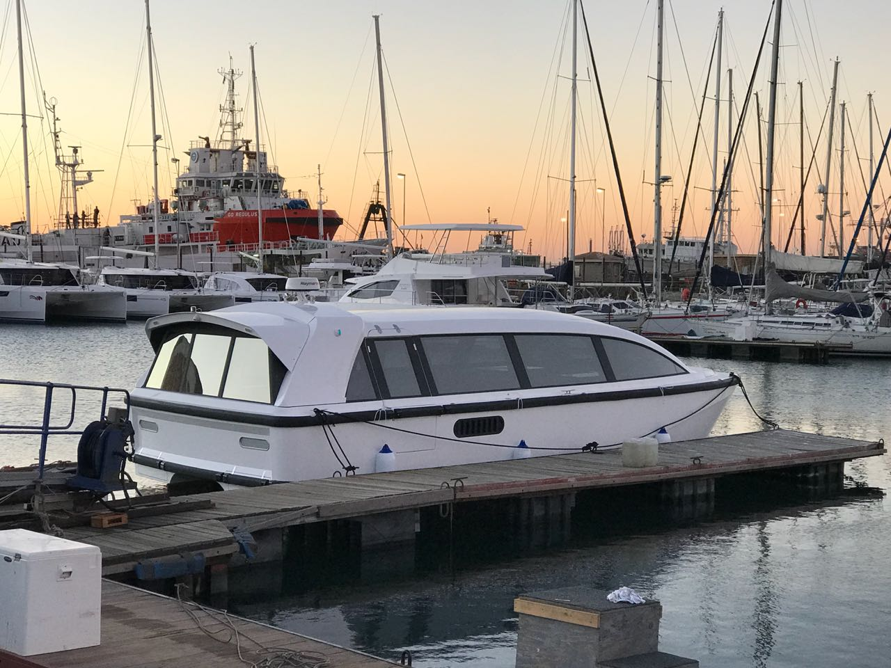 High speed transport ferry in Cape Town, South Africa, built by Stealth Yachts.The joystick control system was installed by Control Engineering in August 2018.