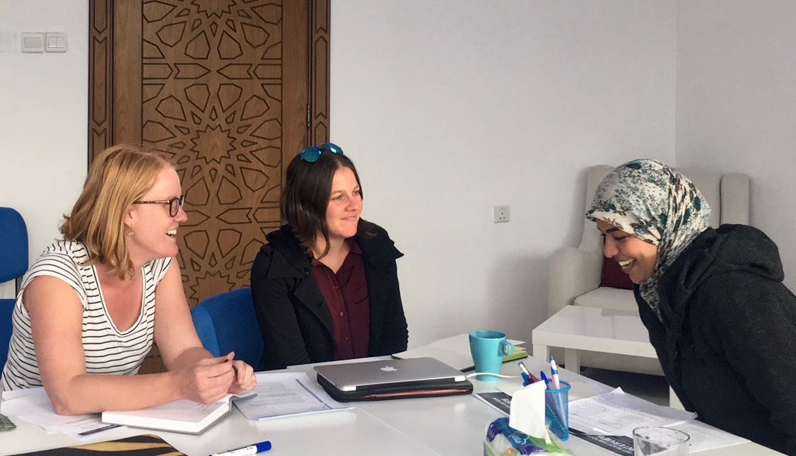 Anna Robson ( Refugee Talent ) and I doing job interview prep with Manal - a talented IT professional living as a refugee in Jordan, January 2017.