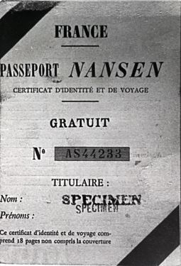 A Nansen Passport, issued by the League of Nations. Images is public domain ( wikipedia ).