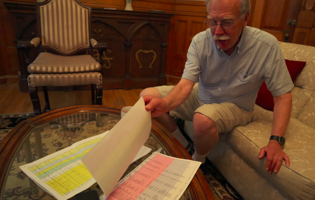 Don Smith showing me the list of refugees the Anglican Diocese is currently sponsoring or planning to sponsor between now and 2019.