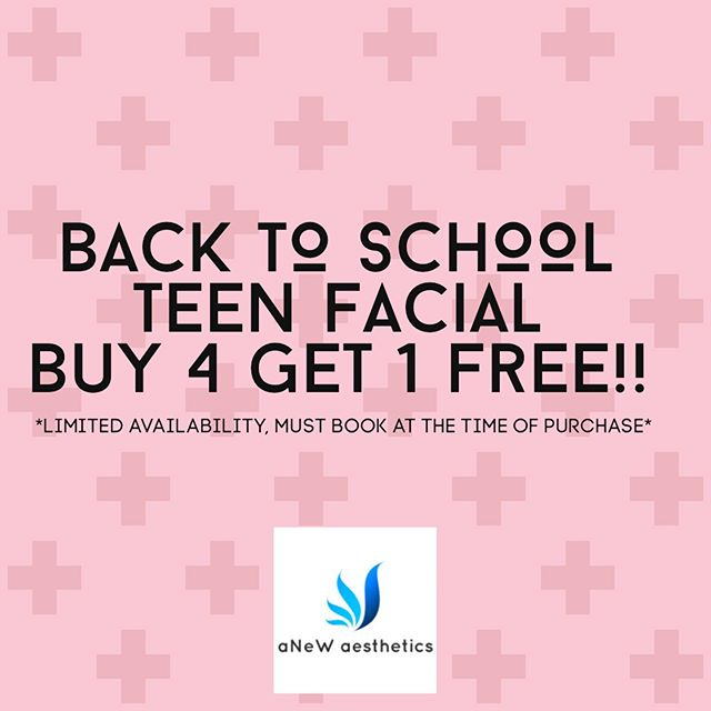 Get your son or daughter's skin ready for school!! Back by popular demand, Buy 4 Get 1 Teen Facial ($55 savings). Deep cleansing and exfoliation, extractions, mask and blue light therapy. Call/text to schedule. Link and contact in bio. *Going today thru August 5th ONLY!!! Facials are done 2 weeks apart. . . . . . . . #teenfacial #clearskin #acne #acnetreatment #bluelight #ledlighttherapy #zoskincare #backtoschool #nashville #franklin #brentwood #nolensville