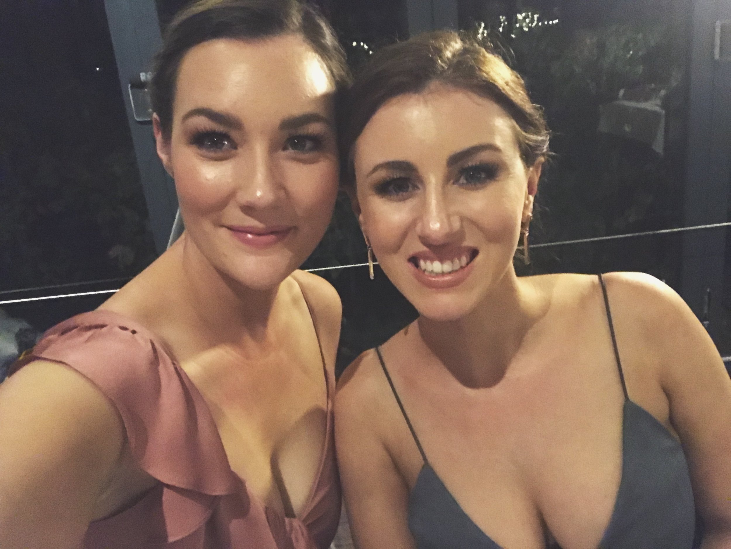 At my friends wedding with my bridesmaid buddy, Kim (right)