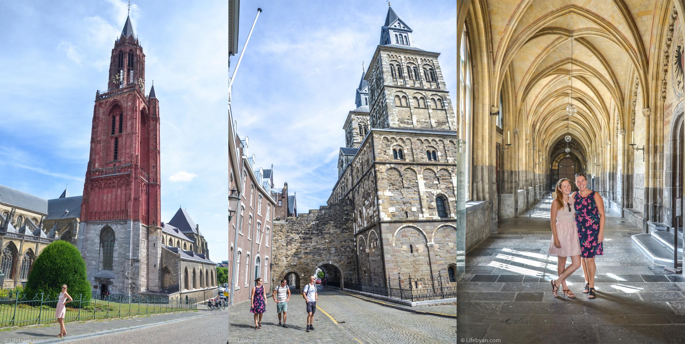 Rechts: Vicky en ik in de kloostergangen van de Sint-Servaasbasiliek